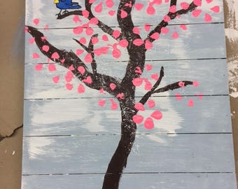 Cherry Blossom Tree with Silly Blue Bird