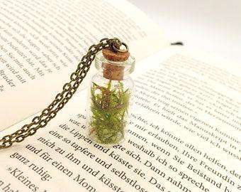Glass bottle genuine green moss bronze