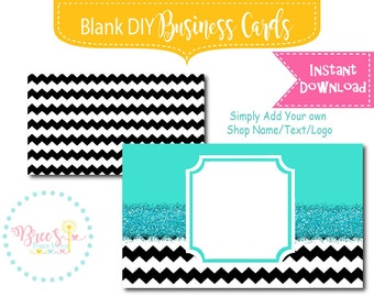 Turquiose Glitter and Black Chevron Business Card design Blank Instant download DIY template