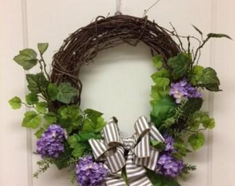 Spring Wreath- Beautiful Wreath – Purple Hydrangeas – Summer Wreath