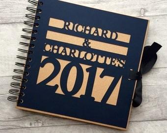 Personalised navy & Kraft book / photo album / guest book/ memory / gift - wedding 2017