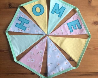 Spring/Summer Themed Bunting/Garland/Banner in Pastel Colours, with Daisies and Polka Dots. Any name in any colours available.