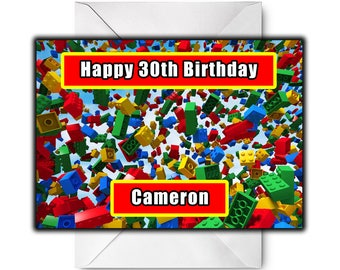 LEGO BRICKS Personalised Birthday / Christmas / Greetings Card - Design 1