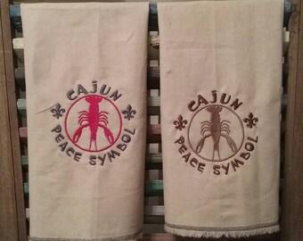 Crawfish decorative kitchen towel, Embroidered kitchen towel, Decorative kitchen towel, Embroidered crawfish towel, #4, #15, #16, #18