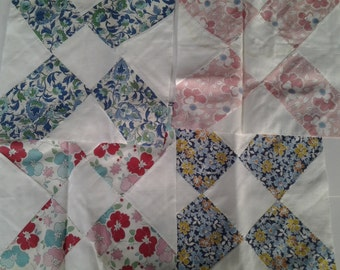 """12 pretty hand stitched 10"""" quilt squares"""