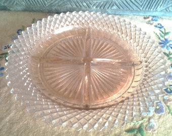 American sweetheart pink divided dish