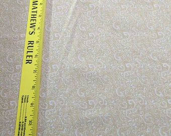 Seasons Greetings, Tan Paisley Cotton Fabric by Fabri-Quilt
