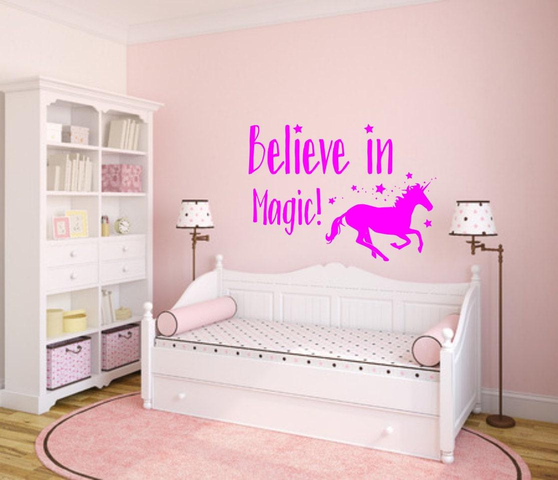 believe in magic unicorn decal unicorn wall art kids room decal 1
