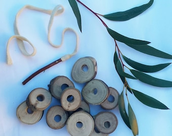 Natural wooden tree branch threading lacing game (set of 12 with stick needle).Made sustainably from fallen trees. Waldorf toys