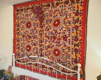 Vintage Indian Gujarat Antique Rare Beautiful Sacred Holy Cow Blanket Textile Wall Hanging Throw Mirrored Hippie