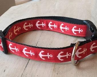 Red Anchor Dog Collar