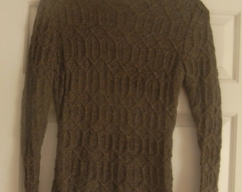 Unusual Fitted 1940's Pattern Brown Pure Cashmere Jumper Handknitted