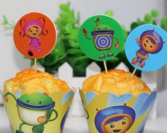 12 set team umizoomi cupcakes toppers and wrappers,team umizoomibparty decorations