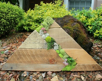 The Ascent // reclaimed pallet wood art // moss // garden // wood round // custom handmade // succulents // mountain // ready to ship