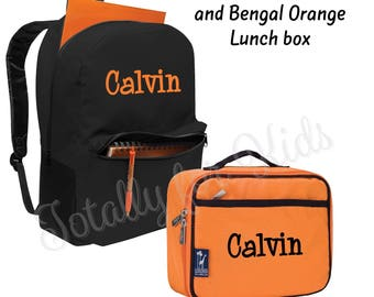 Monogrammed Backpack and Lunch box Set Orange Lunch Box Black Backpack Personalized Back to School Bookbag Set