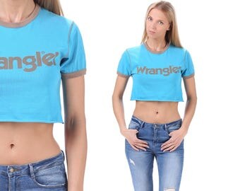Vintage Wrangler Crop Top T Shirt 90s Cut Off Relax Fit Blue Spell Out Logo Active Wear Outside Activity Sports Shirt Women Cotton S to M