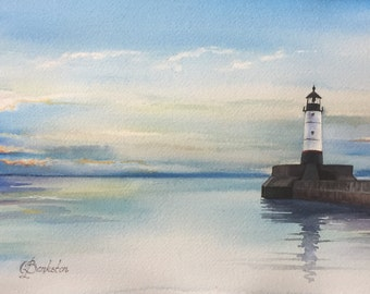 """Original watercolor painting, lighthouse painting """"Lighthouse"""" 9x12"""" watercolor on arches watercolor paper."""