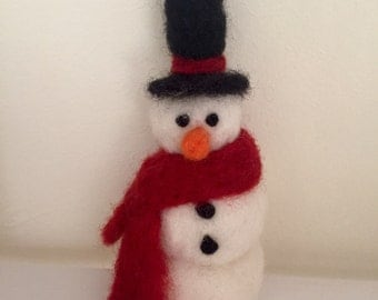 Needle felted snowman ornament, needle felt Christmas decoration