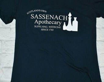 Sassenach apothecary shirt, navy blue. Outlander inspired shirt, sassenach