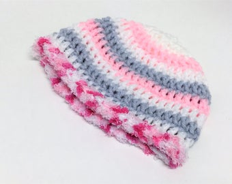 Newborn Hat Baby Girl Crochet Beanie Pink White Gray