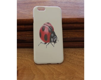 iPhone 6/7 6+ case, Ladybug Plastic iPhone 6/7 6+ case, hand printed and can be personalised, Ladybug  iPhone case, Ladybird case, Ladybird