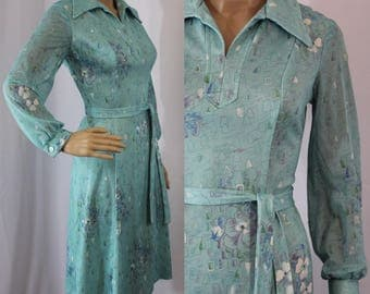 70s vintage polyester robins egg blue dress with sheer long sleeves and large pointed butterfly collar modern size 6 - 8 Small / Medium