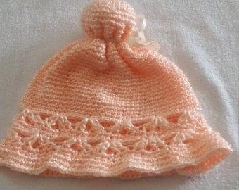 Crocheted Peach Baby Hat
