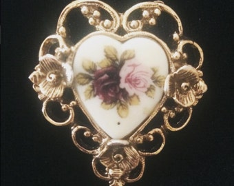Vintage English Rose brooch