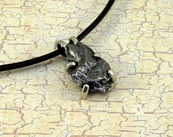 Meteorite Pendant Campo del Cielo on a Greek Leather Cord with Sterling Silver findings