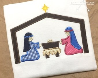 Nativity Scene Applique Shirt / Christmas Applique Shirt / Jesus in the Manger Applique / Toddler Christmas Shirt / Christmas Outfit