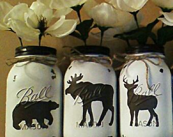 Set of 3 deer, bear, moose vases woodland animal vases, mason jar vases, wildlife vase, rustic animal vases, cabin decor, lodge decor,
