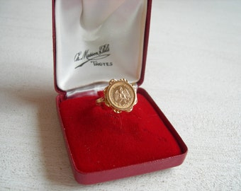 Mexican coin ring in 18 k rose gold