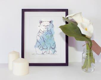 Animal illustration - Bear print - Animal art print - Watercolor illustration - Printable wall art - Digital print - Wall art print —