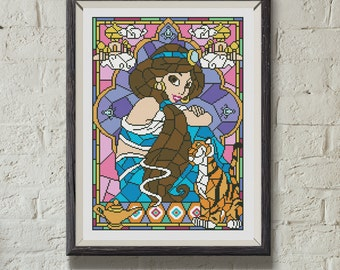"Disney cross stitch pattern ""Jasmine"" in pdf. Stained glass cross stitch pattern in pdf. Modern cross stitch pattern pdf. Instant download."