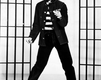 Elvis Presley Celebrity Portrait Photograph Black and White Print Vintage Jailhouse Rock A3 Poster