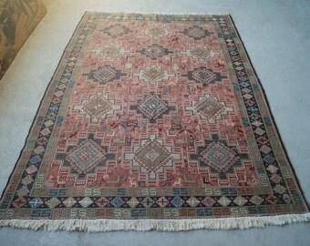 6'x9' Vintage Kilim Rug, Pink Boho Kilim, Large Area Rug