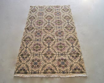 4'x7' Handwoven Low Pile Rug, Anatolian Oushak Carpet, Vintage Turkish Rug