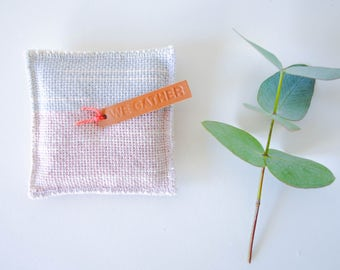Handwoven lavender sachet, hand dyed, lavender flowers, Abalone pink and Frost blue