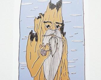 Illustration - Print - Tree - Beard - LOTR - Hobbit - Ent - Cute - Drawn
