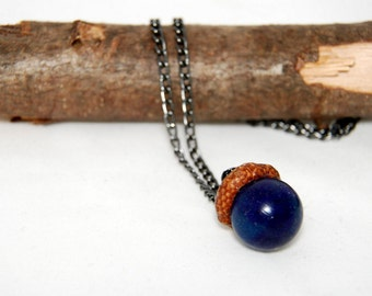 Real acorn blue nacklace,Nature nacklace, Resin pendant, Resin necklace, Forest necklace, Acorn necklace, Gift for her, Acorn pendant