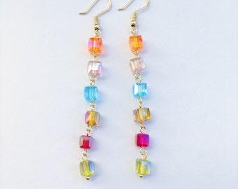 Cube Dangle Earrings, Crystal Cube Earrings, Colorful Earrings