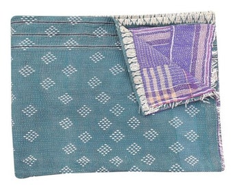 One Of Kind Vintage Kantha Quilt Reversible Kantha Throw blankets