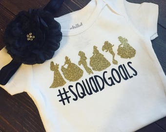Disney inspired Princess #SQUADGOALS onesie