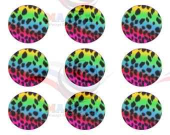 15 x circle animal print neon Cake Topper cupcake topper, birthday party supplies, digital cake topper