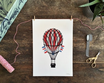 Vintage hot air balloon A4 digital print