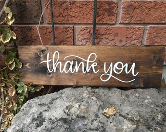 Hand Lettered THANK YOU Wedding Photo Prop Wood Sign rustic wedding thank you card