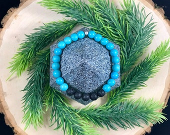 Natural Stone | Turquoise Howlite | Essential Oil Diffuser Bracelet | Aromatherapy | Lava Jewelry | Gift for Her | Healing Bracelet