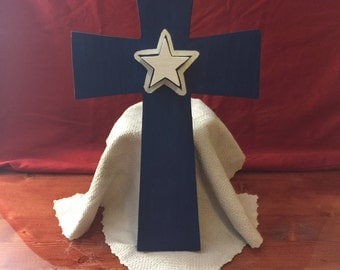 Painted cross, Painted pine, sports team inspired painted cross, wooden cross