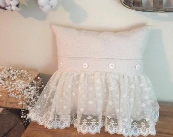 Drop Cloth Farmhouse Lace Pillow