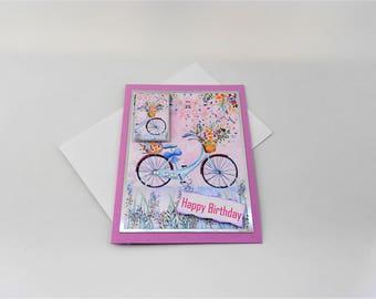 Happy birthday bicycle card, girls blue bicycle greeting card, happy birthday, birthday card, blue cycle card, female birthday card